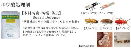 ホウ酸処理剤:ボードディフェンス